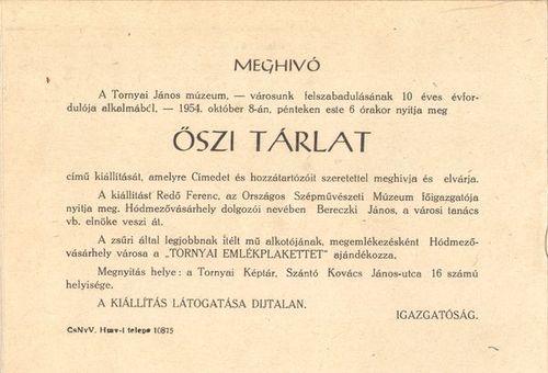 Az első Őszi Tárlat meghívója (1954)